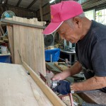 7-5.岳父正製作家父委做廢棄木板(檜木)作長椅