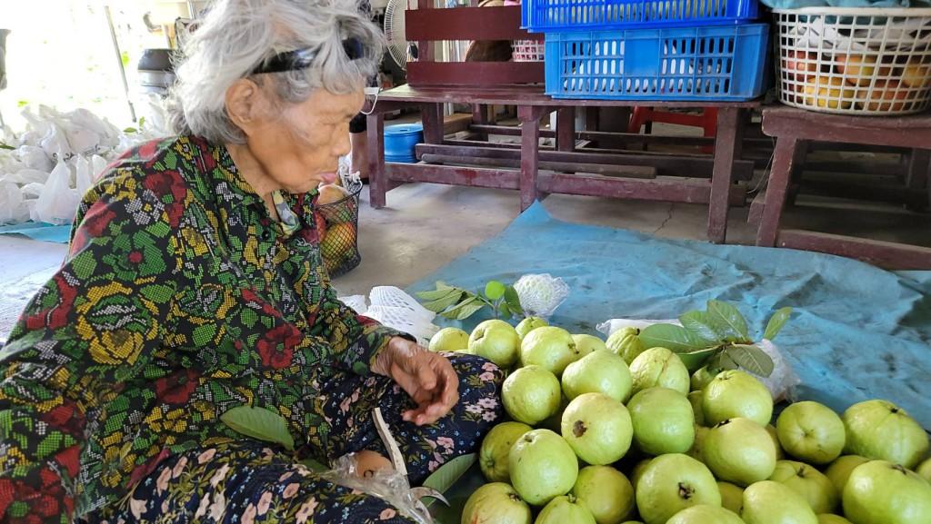◆媽媽經營芭樂由獨到之處-「澆澆水就好了!」。剛採完芭樂,準備賣到部落。攝影/賴約翰 2021/7/08